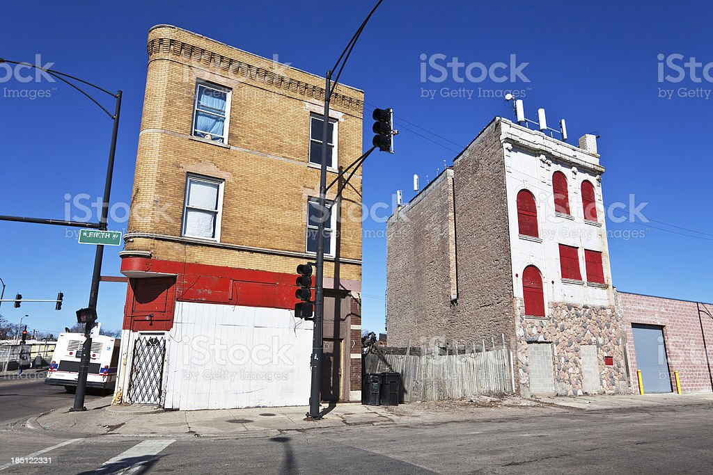 Victorian commercial buildings in West Garfield Park, Chicago royalty-free stock photo