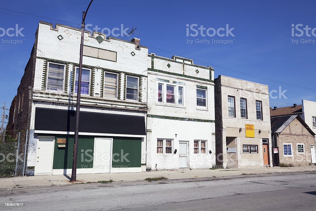 Victorian Commercial Buildings in West Pullman, Chicago royalty-free stock photo