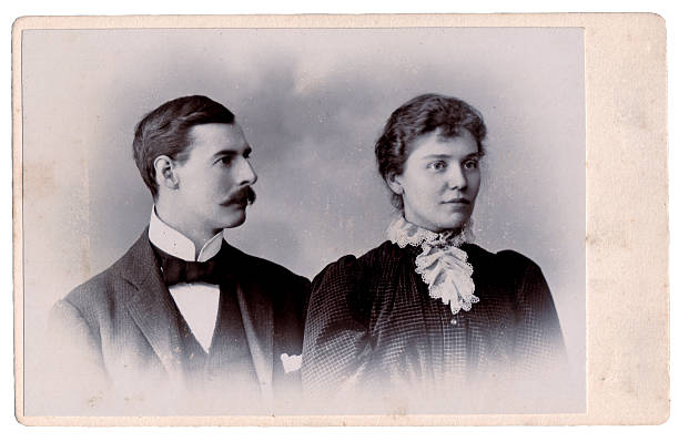 Victorian couple Vintage photograph from the late 19th century of a man and his wife edwardian style stock pictures, royalty-free photos & images