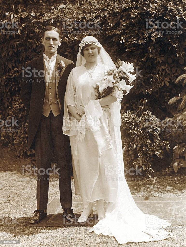 Victorian Edwardian People - Wedding Couple stock photo
