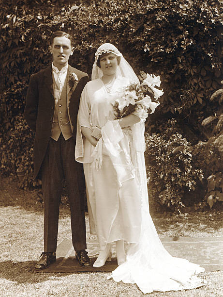 victorian edwardian people - wedding couple - 1920s style stock photos and pictures