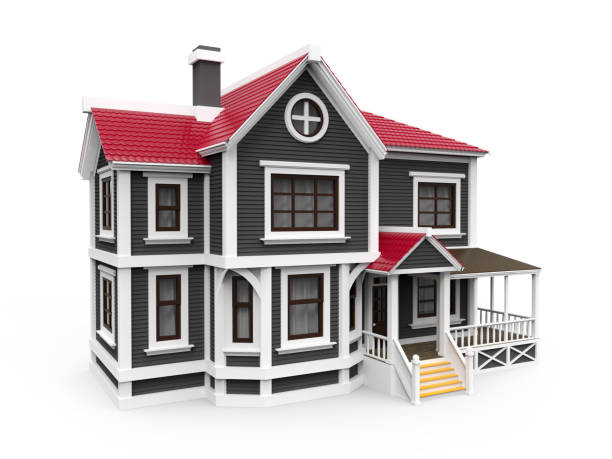 victorian family house - clip art stock photos and pictures