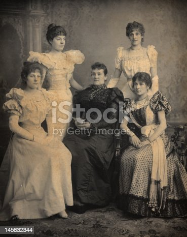 Victorian Portlait of Mother and 4 daughters who are wearing long formal dresses. Circa 1880 in Birmingham, in England