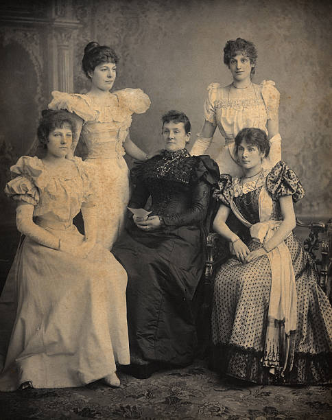 Victorian Family Portlait Mother and 4 daughters stock photo