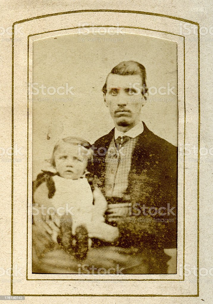 Victorian Father and Child royalty-free stock photo