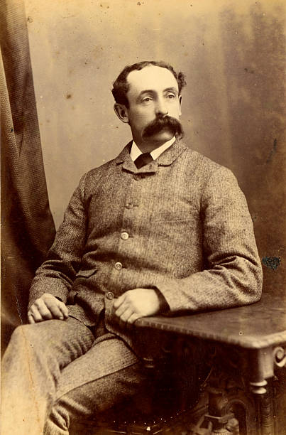 Victorian Gentleman vintage photograph Vintage photograph of a gentleman from the Victorian era circa 1880 with a bushy moustache. 19th century stock pictures, royalty-free photos & images