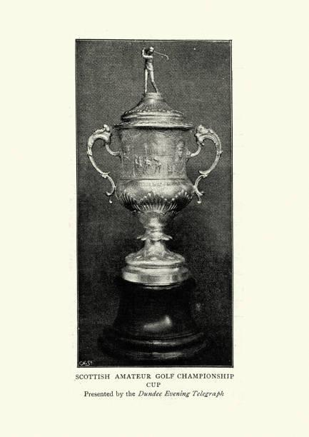 Victorian golf trophy, Scottish amateur golf championship stock photo