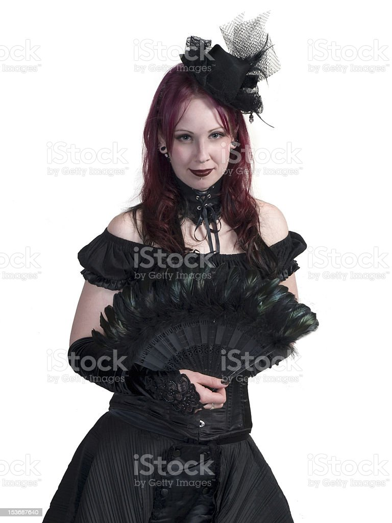 Victorian Gothic Girl - Standing and Holding Fan stock photo