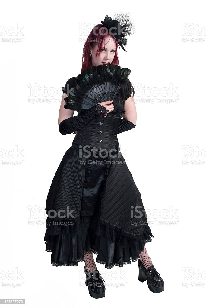 Victorian Gothic Girl - Standing with Fan stock photo
