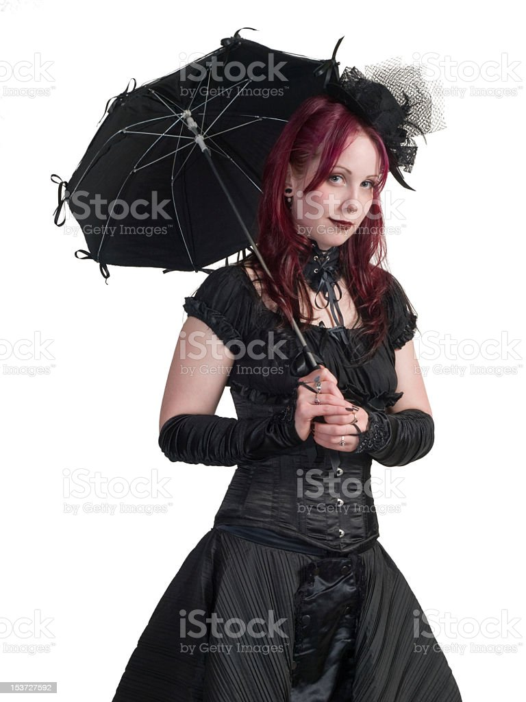 Victorian Gothic Girl - Standing with Parasol royalty-free stock photo