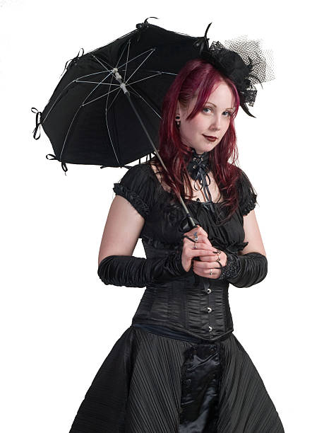 Victorian Gothic Girl - Standing with Parasol stock photo
