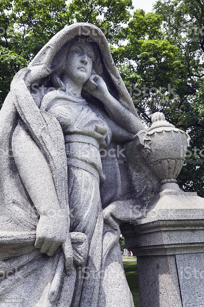 Victorian Grave Statue in the Bohemian National Cemetery, Chicag royalty-free stock photo