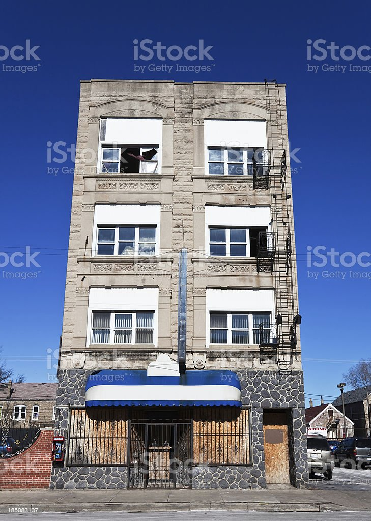 Victorian Greystone commercial building in South Lawndale, Chica royalty-free stock photo
