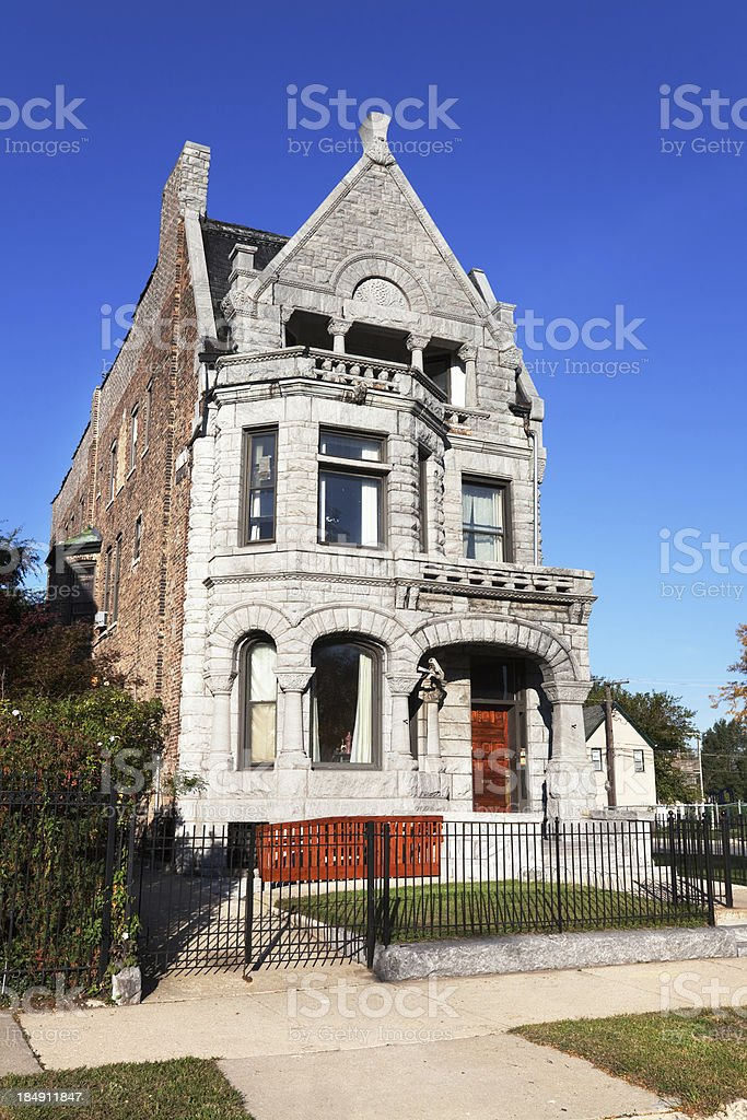 Victorian Greystone Mansion in Grand Boulevard, Chicago royalty-free stock photo