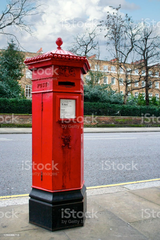 Victorian hexagonal red post box - Royalty-free Box - Container Stock Photo