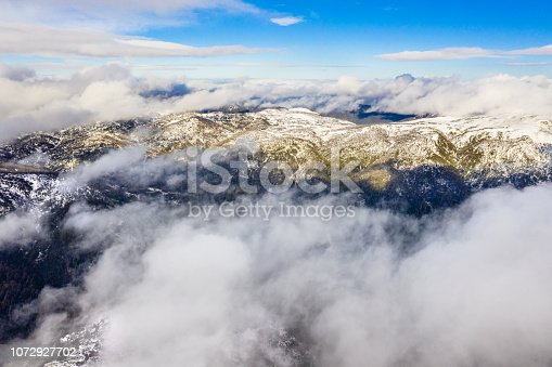 Victorian high country, near Falls Creek with clouds and snow