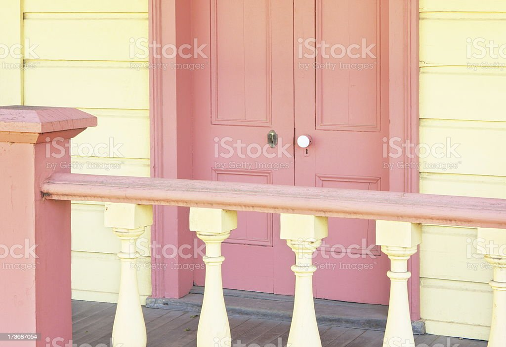 Victorian Home Entrance Door Porch Stoop Railing stock photo