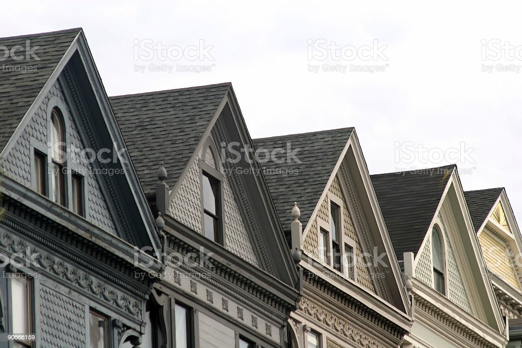 SF victorian homes stock photo