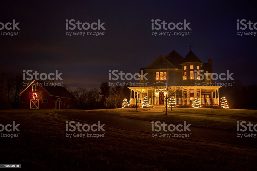 Victorian House at Christmas stock photo