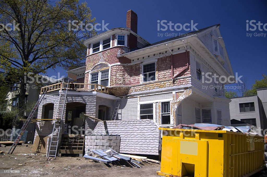 Victorian house under construction royalty-free stock photo