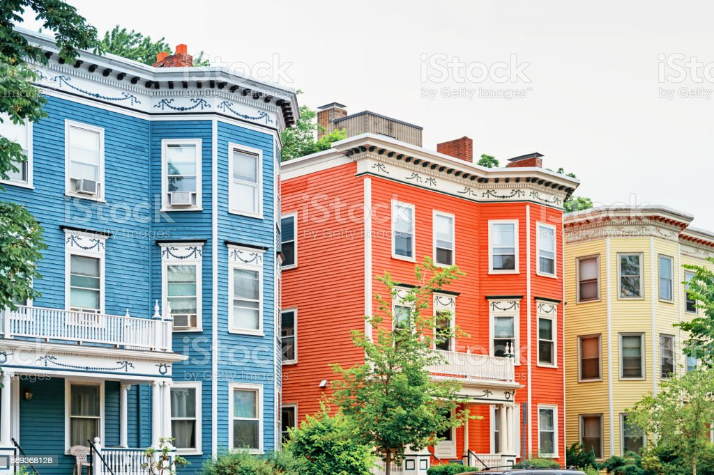 Victorian houses in Cambridge Boston Massachussets USA stock photo
