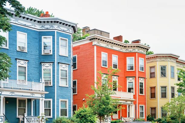 Victorian houses in Cambridge Boston Massachussets USA stock photo