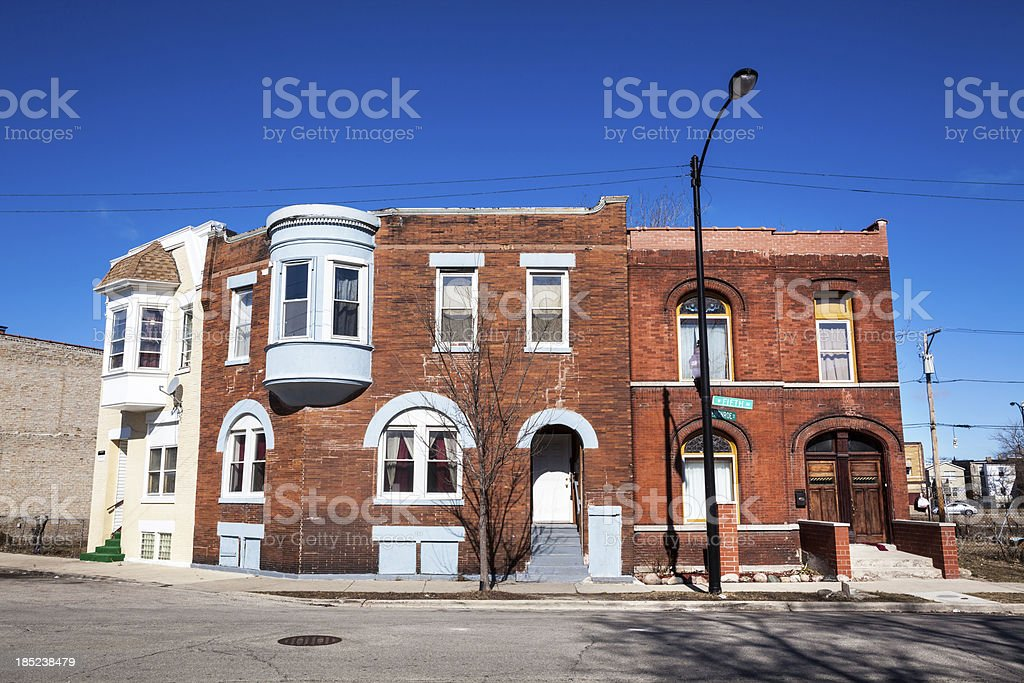 Victorian Houses in East Garfield Park, Chicago royalty-free stock photo