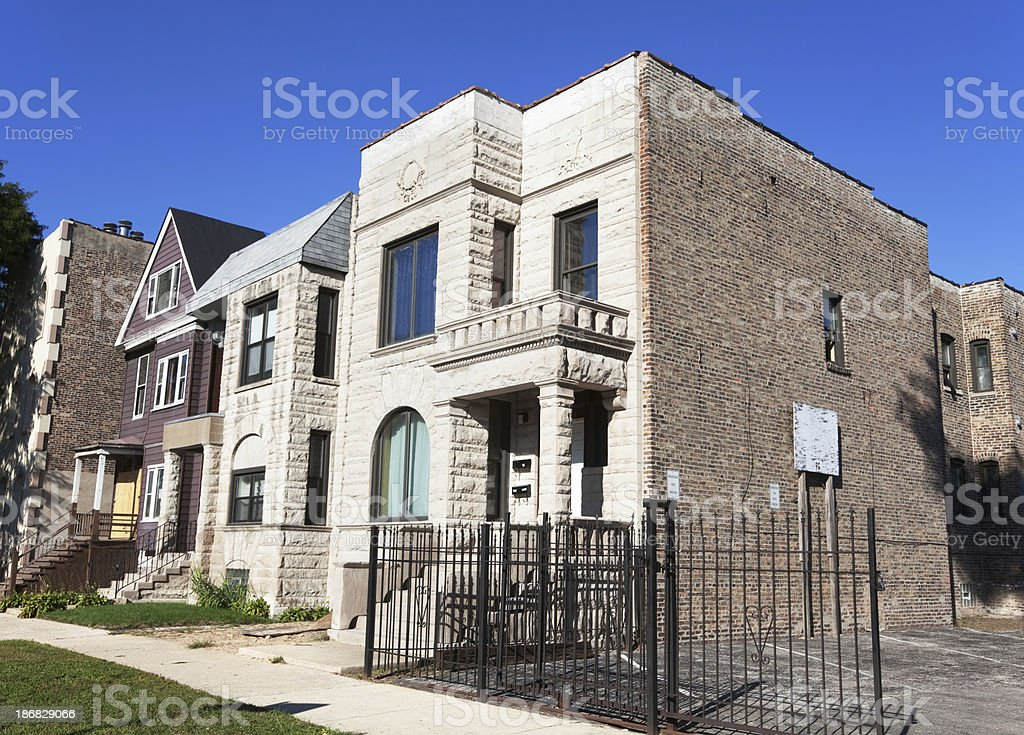 Victorian Houses in Grand Boulevard, Chicago royalty-free stock photo