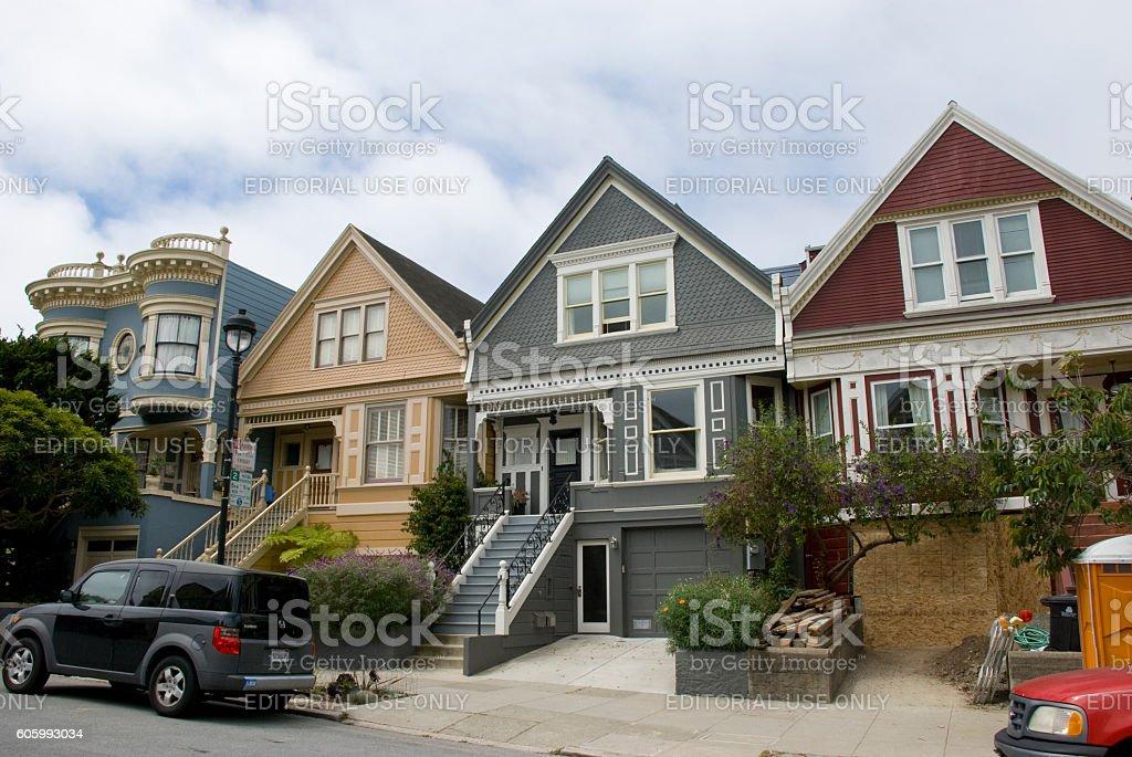 Victorian houses in Haight Ashbury, San Francisco - California stock photo