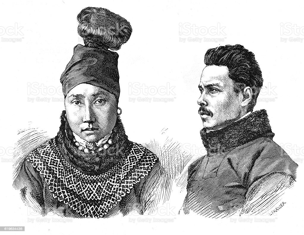 Victorian illustration traditional Greenland Inuits or Eskimos; traditional costume. stock photo