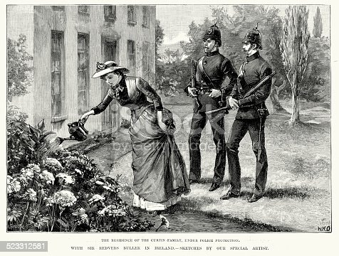 Vintage engraving of a landlords family under police protection in Ireland during the Plan of Campaign of 1886, part of the Land War. The Land War in Irish history was a period of agrarian agitation in rural Ireland in the 1870s, 1880s and 1890s. The agitation was led by the Irish National Land League and was dedicated to bettering the position of tenant farmers and ultimately to a redistribution of land to tenants from landlords. While there were many violent incidents and some deaths in this campaign, it was not actually a war, but rather a prolonged period of civil unrest. London Illustrated News, 1886