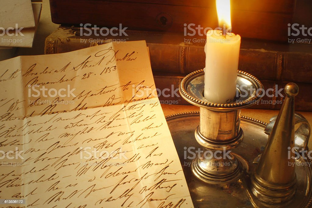 Victorian Letter with Candle – Foto