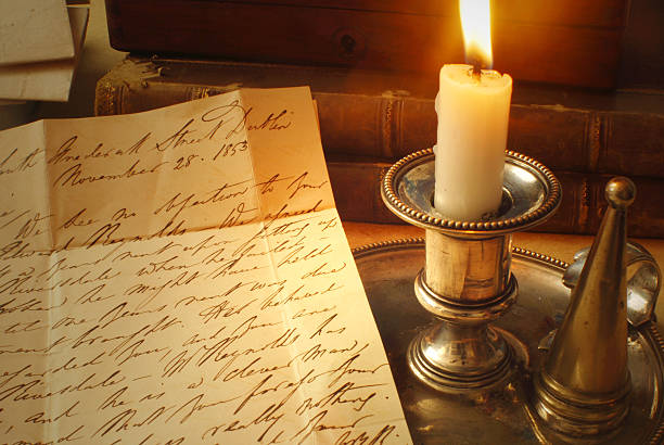 Victorian Letter with Candle stock photo