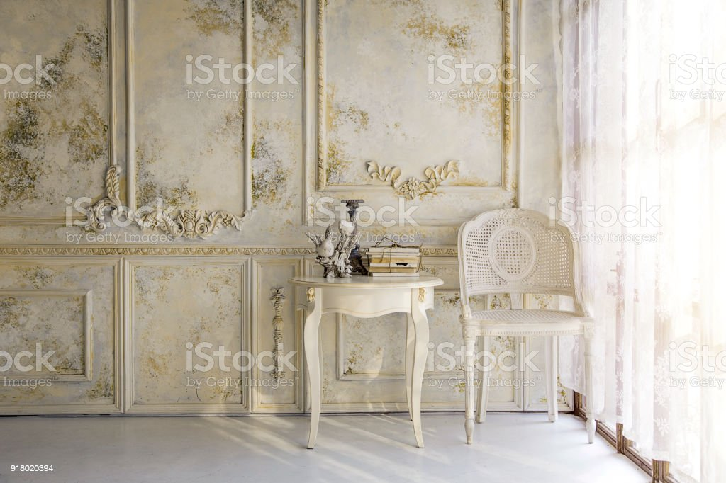 victorian liveing room in morning light background stock photo