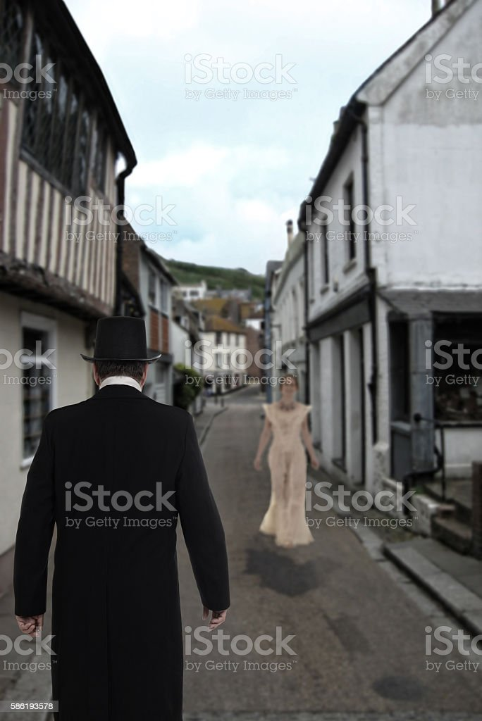 Victorian man waiting for bride stock photo