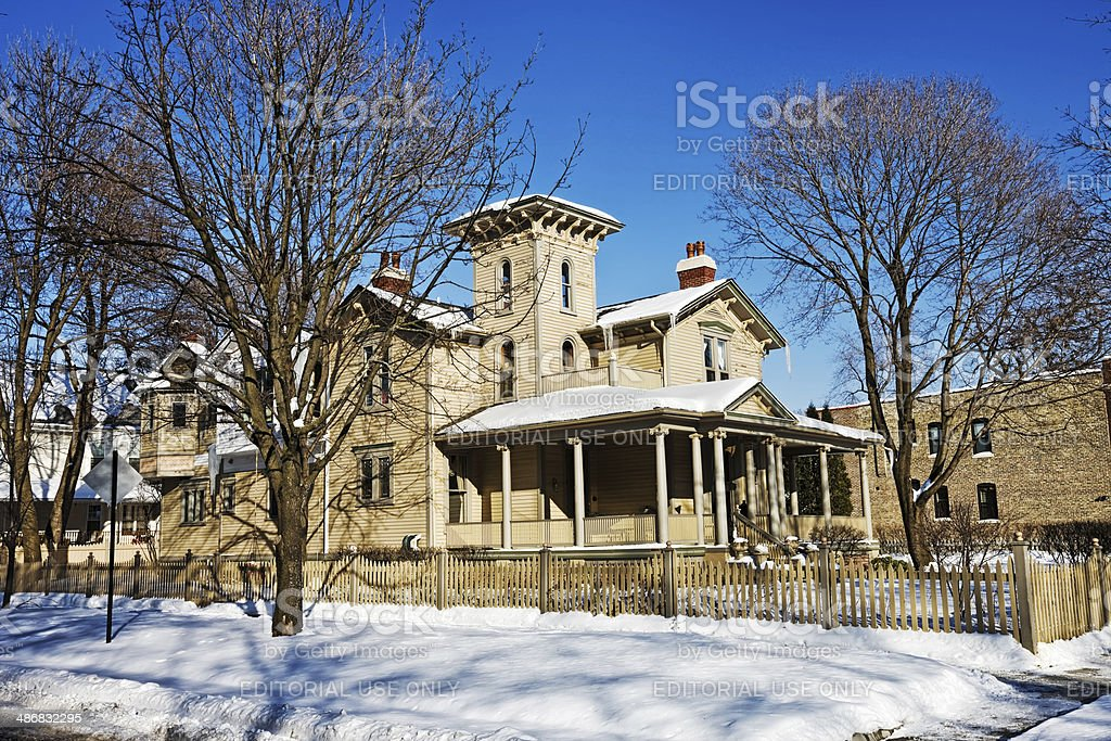 Victorian Mansion in Nothwest Chicago royalty-free stock photo