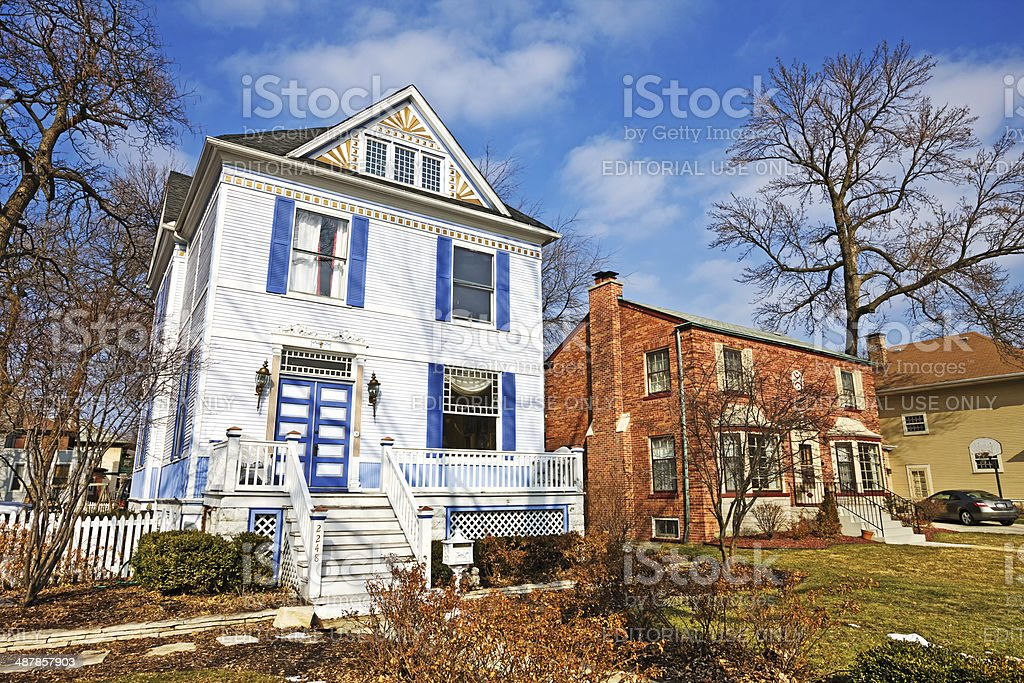 Victorian Painted Lady in Morgan Park, Chicago royalty-free stock photo