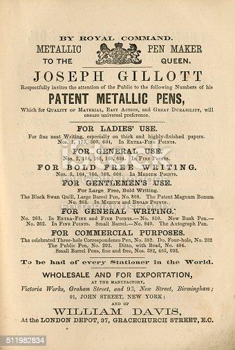 1070355804 istock photo Victorian pens advertisement, 1865 511982834