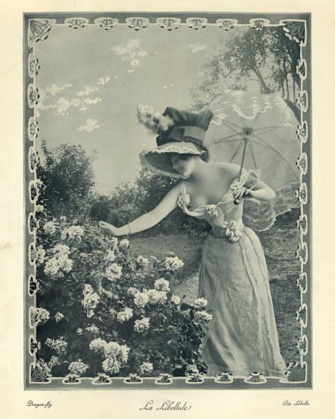 Victorian photograph beautiful young woman wearing a low cut dress stock photo