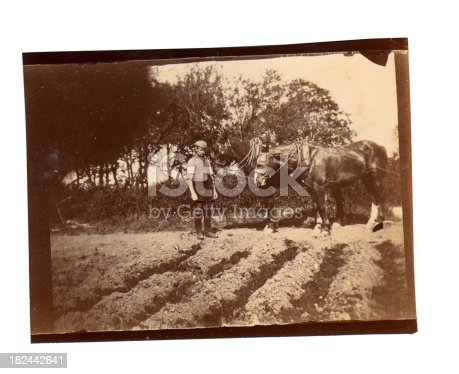 Vintage photograph of a Victorian ploughman in the field he has just ploughed with his team of horses. England circa 1890