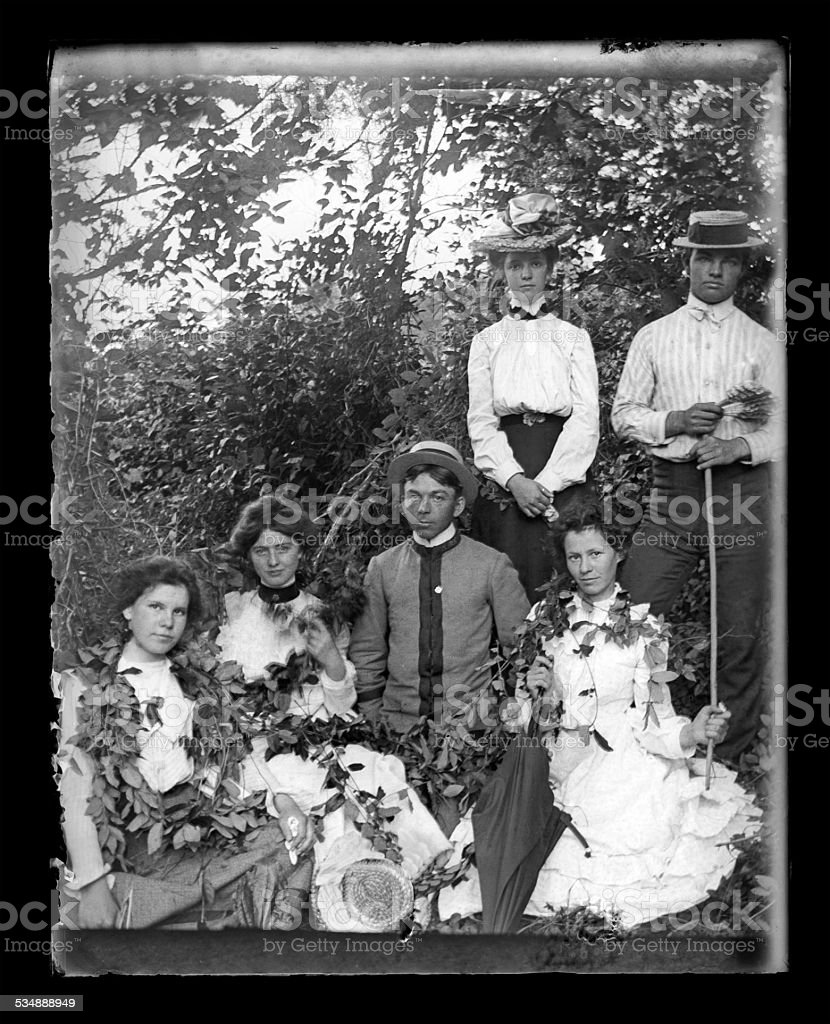 Victorian Portrait of a Group of Young Adults stock photo