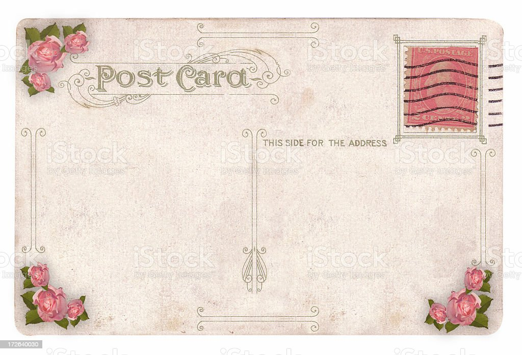Victorian Postcard with Rose Detail royalty-free stock photo