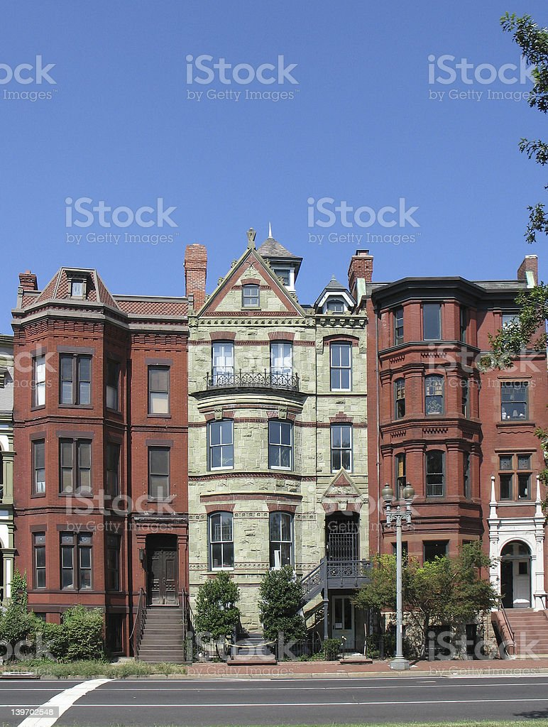 DC Victorian Rowhouses- tall royalty-free stock photo