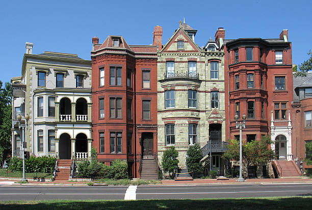 dc victorian rowhouses-wide - terraced houses stock photos and pictures