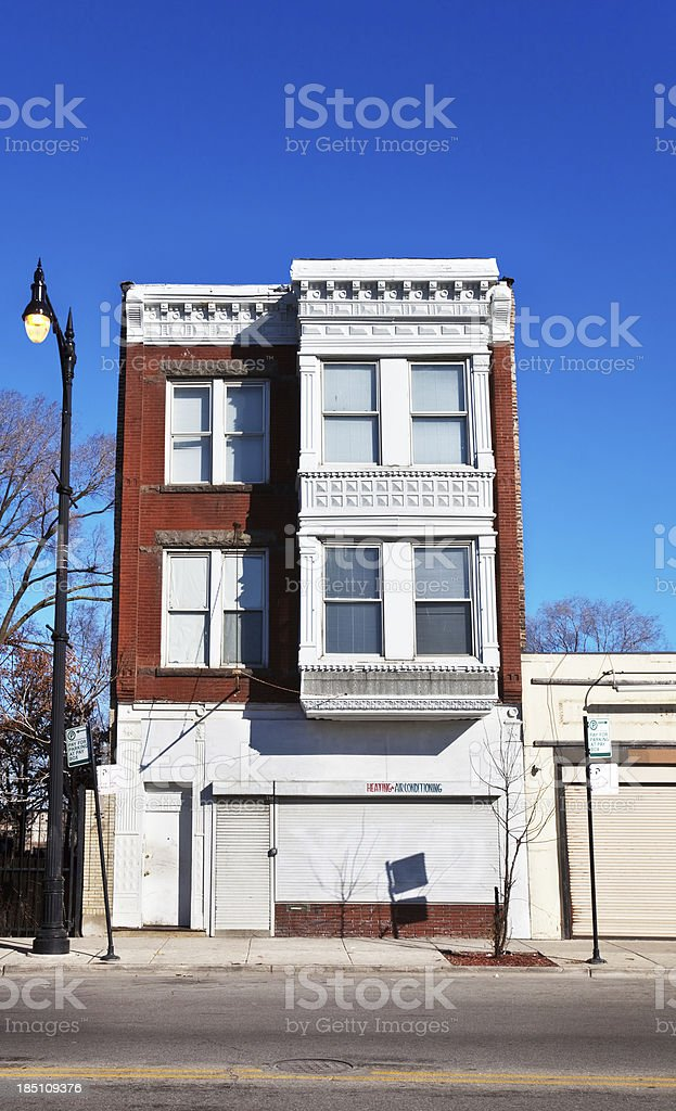 Victorian shop building in West Garfield Park, Chicago royalty-free stock photo
