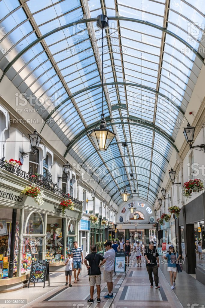 Victorian shopping arcade in central Bournemouth, UK stock photo