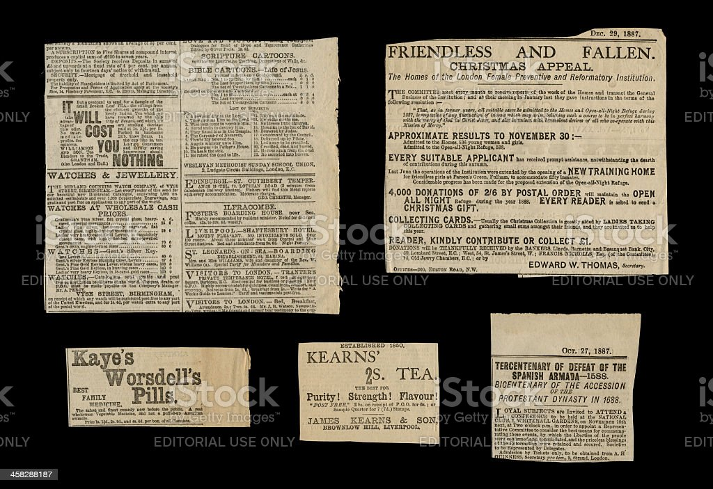 Victorian small ads, 1887 royalty-free stock photo