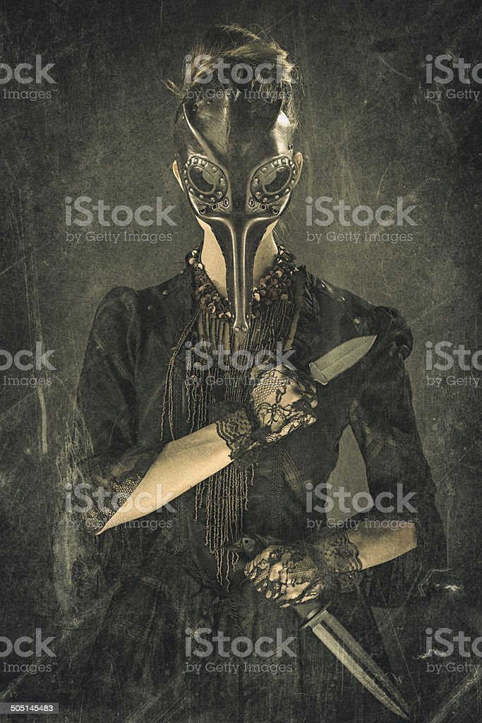 Victorian Steampunk Plague Doctor Assassin stock photo