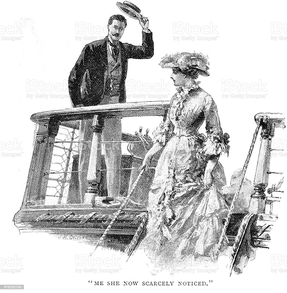 Victorian story illustration William Heysham Overend; man lady ship deck stock photo