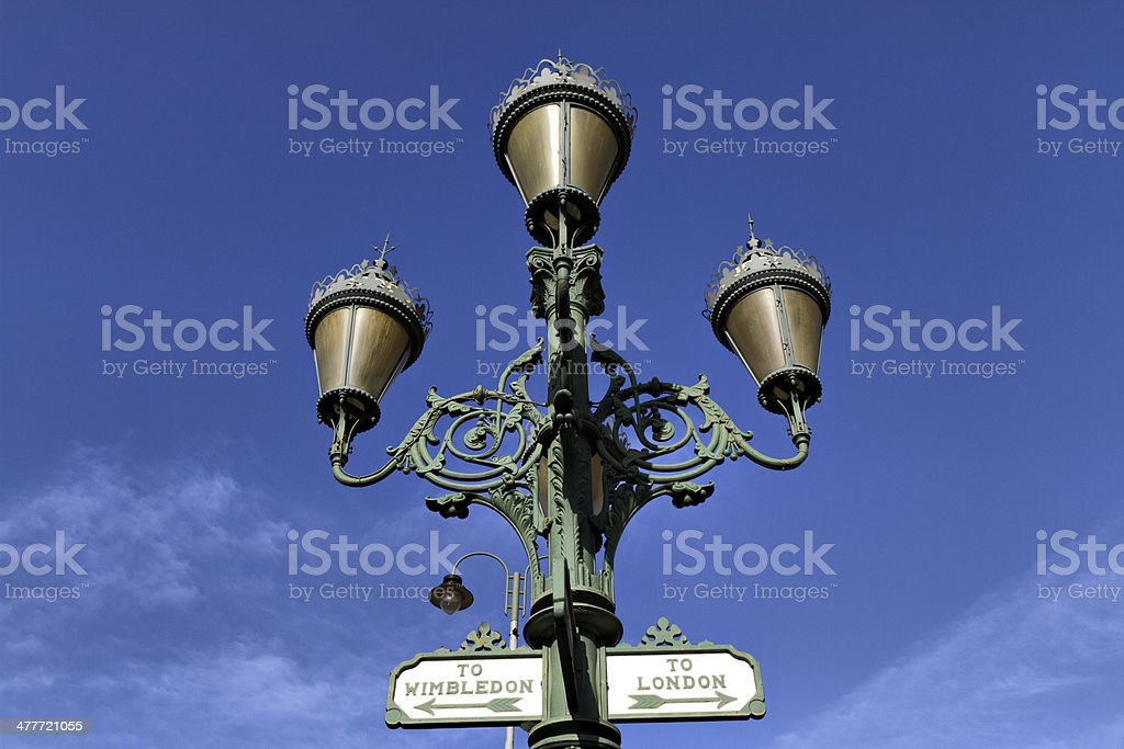 Victorian street light lamp assembly at Tooting Broadway stock photo
